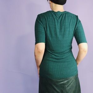H&M Tops - Green Ribbed Jersey Top